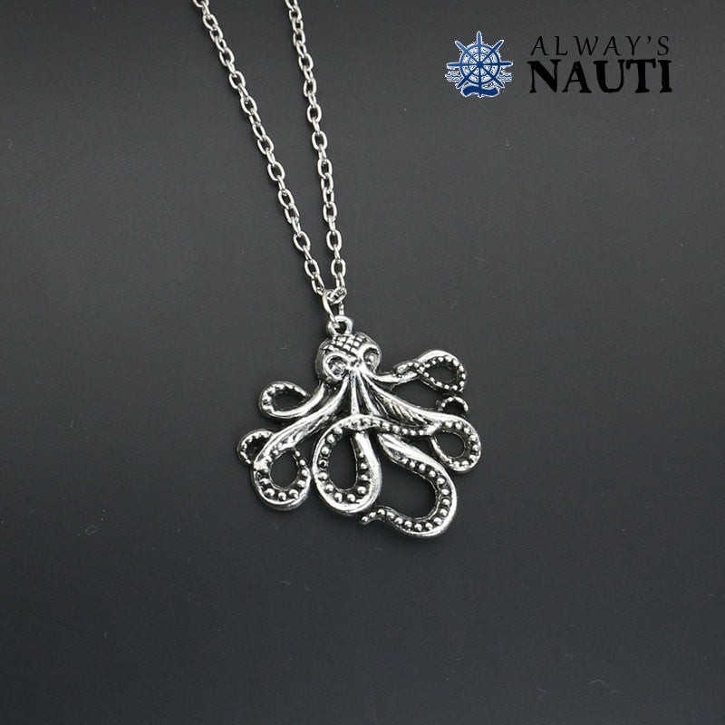 Nautical Jewelry Featuring A Silver Plated Octopus And Chain