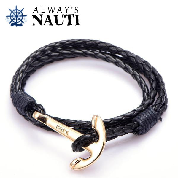 Anchor Bracelet Inscribed With Hope Black Strap Gold Color