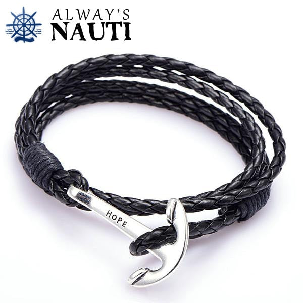 Anchor Bracelet Inscribed With Hope Black Strap Silver Color