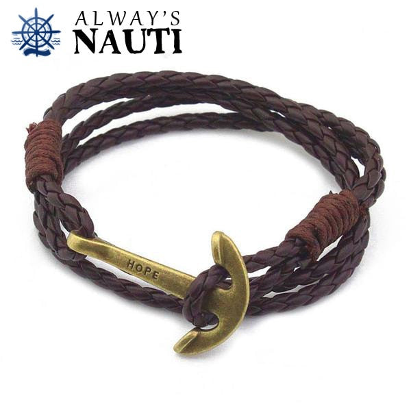 Anchor Bracelet Inscribed With Hope Brown Strap Bronze Color