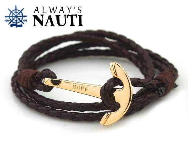 Anchor Bracelet Inscribed With Hope Brown Strap Gold Color