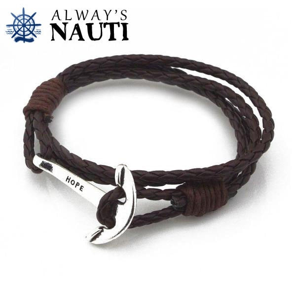 Anchor Bracelet Inscribed With Hope Brown Strap Silver Color