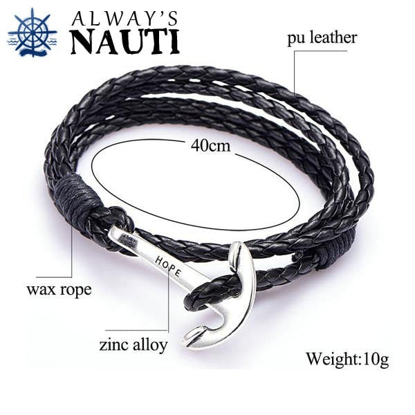 Anchor Bracelet Inscribed With Hope Dimensions Black Strap Silver Color