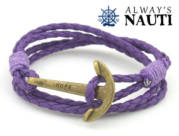 Anchor Bracelet Inscribed With Hope Purple Strap Bronze Color