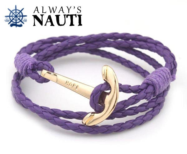 Anchor Bracelet Inscribed With Hope Purple Strap Gold Color