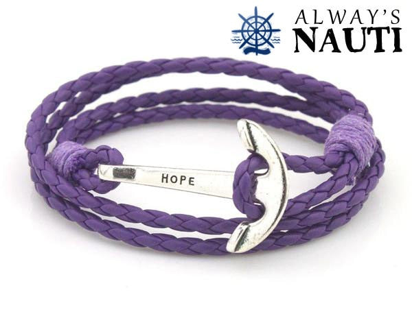 Anchor Bracelet Inscribed With Hope Purple Strap Silver Color