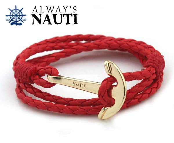 Anchor Bracelet Inscribed With Hope Red Strap Gold Color