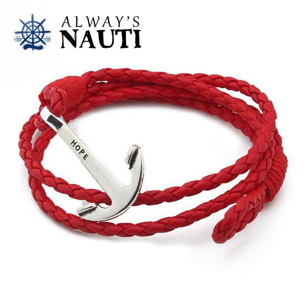 Anchor Bracelet Inscribed With Hope Red Strap Silver Color