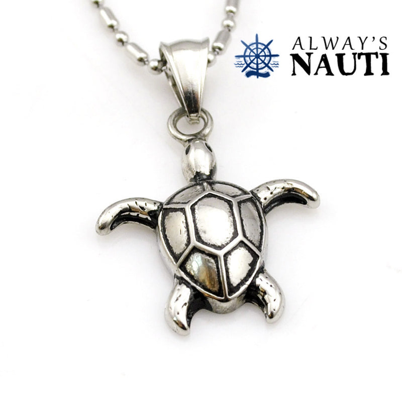 Nautical Necklace And Sea Turtle Pendant Made Of Stainless Steel