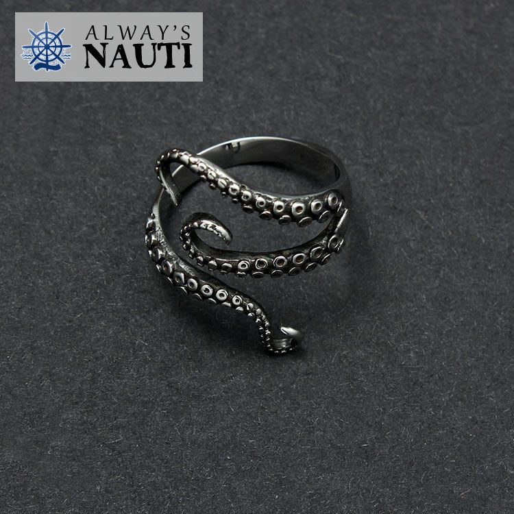 Fully Adjustable Octopus Nautical Ring Made From High Grade Titanium