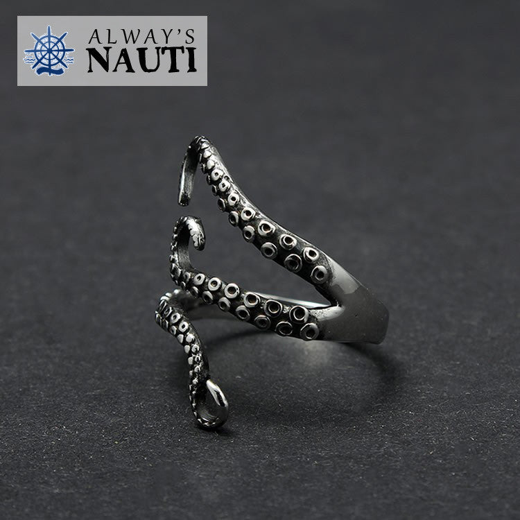 Octopus Nautical Ring Made From High Grade Titanium 2