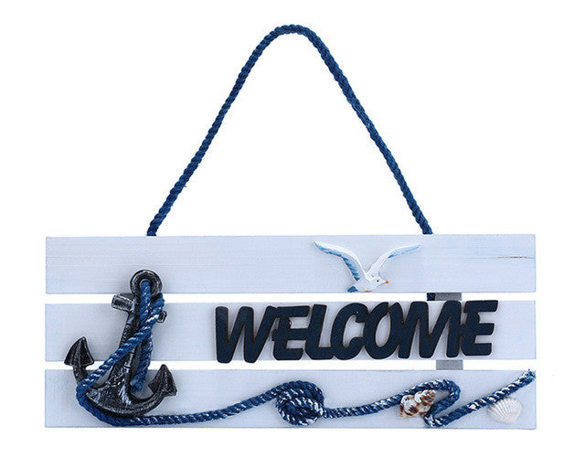 Natical Decor Featuring Decorative Hanging Anchor Welcome Sign