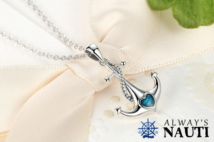 Anchor Necklace Sterling Silver & Zircon Heart