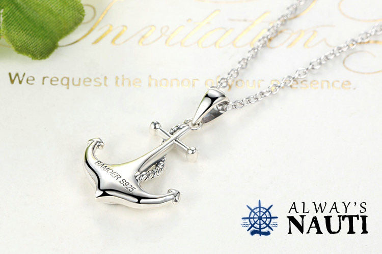 Anchor Necklace Sterling Silver & Zircon Heart 2