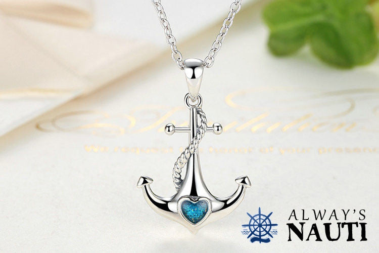 Anchor Necklace Sterling Silver & Zircon Heart 3