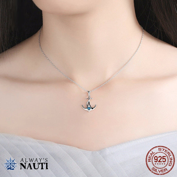 Anchor Necklace Sterling Silver & Zircon Heart 4