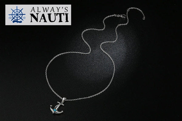 Anchor Necklace Sterling Silver & Zircon Heart 6