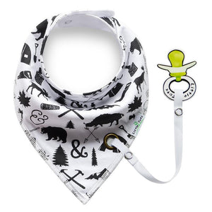 Mom's Little Helper - Unisex Print Bandana Bibs with Pacifier attachment