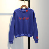 """GIRLS GIRLS GIRLS"" EMBROIDERED HIGH COLLAR SWEATSHIRT"