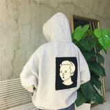 """LUCK FACE"" GRAPHIC PRINT LOOSE PULLOVER HOODIE"