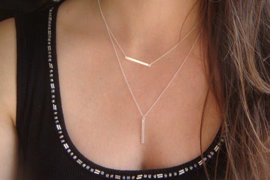 LAYERED NECKLACE BAR PENDANTS