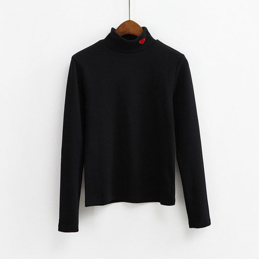 HEART COLLAR SOLID COLOUR TURTLENECKS