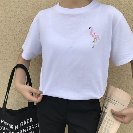 EMBROIDERED FLAMINGO TEE