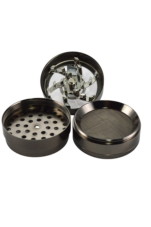 4 Piece Crank Handle Grinders w/ 3 Chambers - smoknfly