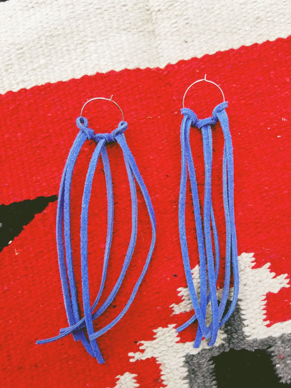 Blue fringe hooped earrings