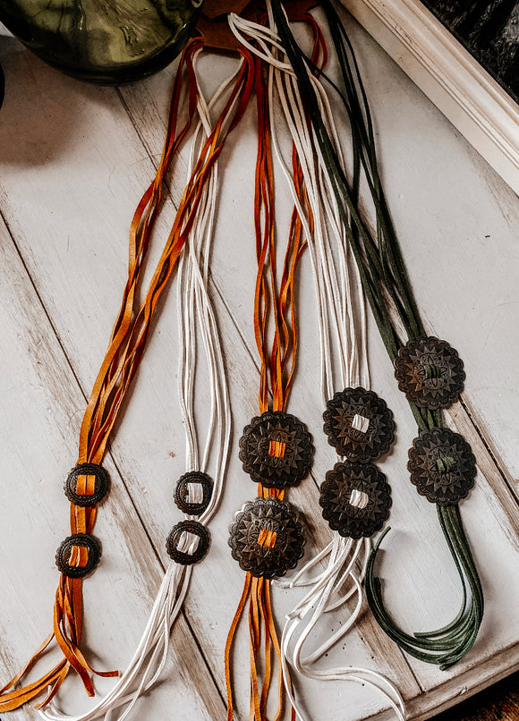 Concho Leather Necklace