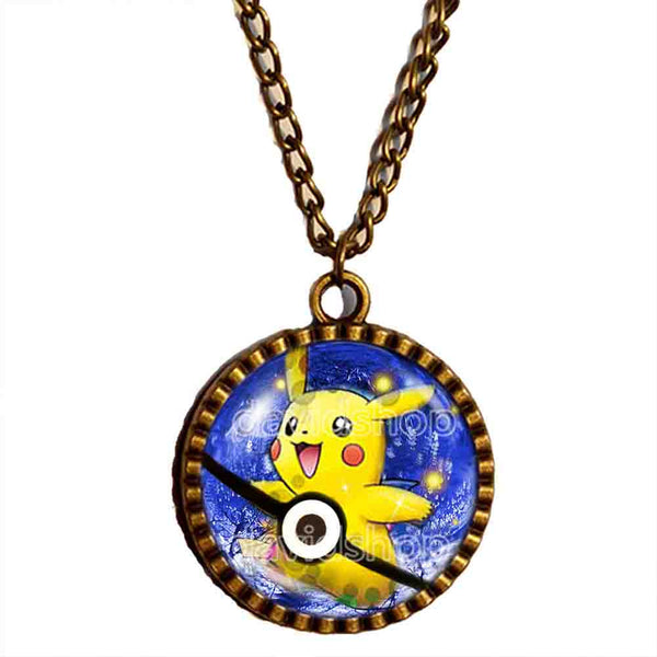 Pokemon Pikachu Necklace Anime Pendant Fashion Pokeball Jewelry Cosplay Gift Cute Poke ball