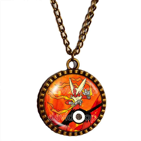 Pokemon Blaziken Pokeball Necklace Blazikenite Mega Stone Anime Pendant Jewelry Cosplay Charm - DDavid'SHOP