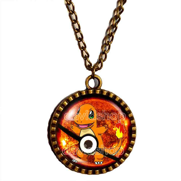 Pokemon Charmander Pokeball Necklace Anime Pendant Fashion Jewelry Cosplay Cute - DDavid'SHOP