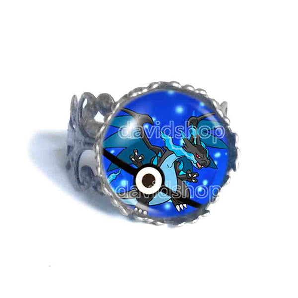 Pokemon Charizard Pokeball Ring Anime Jewelry Charizardite X Mega Stone Cosplay