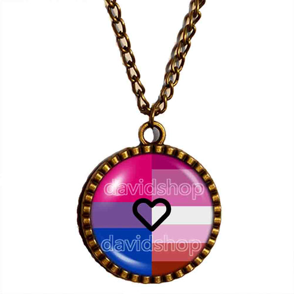 Bisexual Lesbian Pride Necklace Pendant Chain Bi LGBT Flag Cosplay Fashion Jewelry Sign