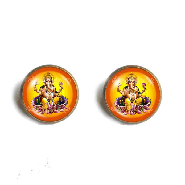 Ganesh Ganesha Ear Cuff Stud Earring Hindu Gods Goddesses Om Charm Fashion Jewelry Sign