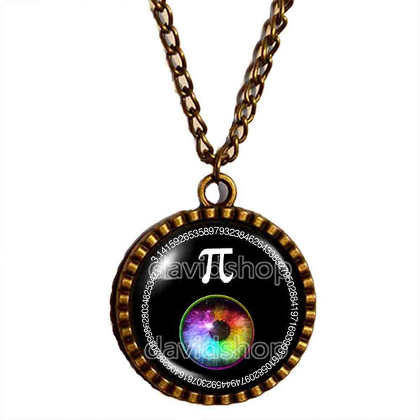 Pi Day Math Pi Necklace Pendant Fashion Jewelry Cosplay Colorful Eyes Sign