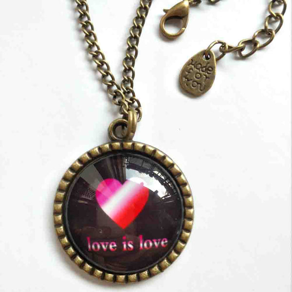 Love Is Love Gay Lesbian Necklace Photo Pendant Fashion Jewelry Heart Flag Rainbow LGBTQ Symbol Art Cute Gift Colorful Hip Hop Charm