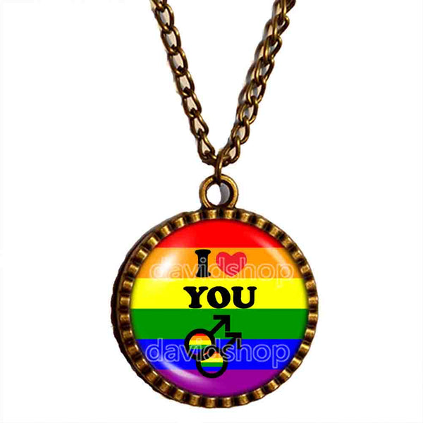 I Love You Gay Pride Rainbow Flag Necklace Pendant Chain Cosplay Love Wins Fashion Jewelry Sign