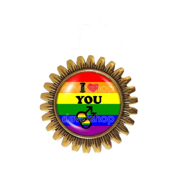 I Love You Gay Pride Rainbow Flag Brooch Badge Pin Cosplay Love Wins Fashion Jewelry Sign