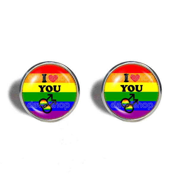 I Love You Gay Pride Rainbow Flag Cufflinks Cuff links Cosplay Love Wins Fashion Jewelry Sign