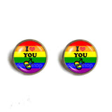 I Love You Gay Pride Rainbow Flag Ear Cuff Stud Earring Cosplay Love Wins Fashion Jewelry Sign