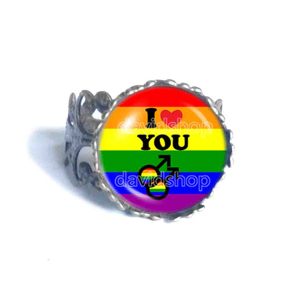 I Love You Gay Pride Rainbow Flag Ring Cosplay Love Wins Fashion Jewelry Sign