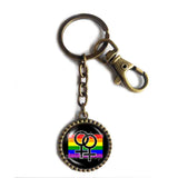 Rainbow Daughter Sister Women My Two Moms Wedding Lesbian Pride Keychain Cute Keyring Car Sign