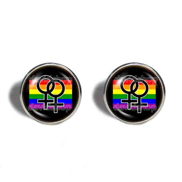 Rainbow Daughter Sister Women My Two Moms Wedding Lesbian Pride Cufflinks Cuff links Jewelry Sign