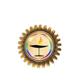 UU Flame Unitarian Universalist Chalice Brooch Badge Pin Flaming Cosplay Fashion Jewelry Sign