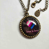 Love Is Love Genderfluid Necklace Photo Pendant Fashion Jewelry Heart Flag Rainbow LGBTQ Symbol Art Cute Gift Colorful Hip Hop Charm