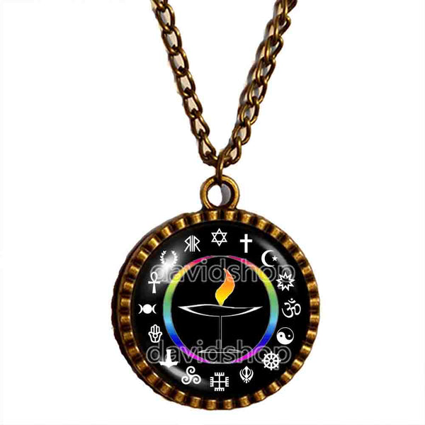 UU Flame Unitarian Universalist Chalice Necklace Pendant Fashion Jewelry Flaming Cosplay