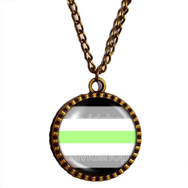 Agender Pride Necklace Photo Pendant Fashion Jewelry Flag Cosplay