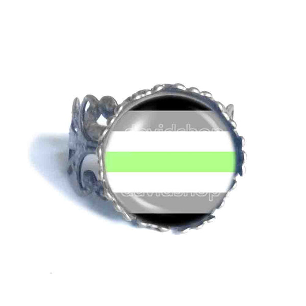 Agender Pride Ring Flag Fashion Jewelry Cosplay